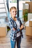 Attractive girl in new house Royalty Free Stock Images