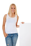 Attractive girl next to blank sign Royalty Free Stock Images