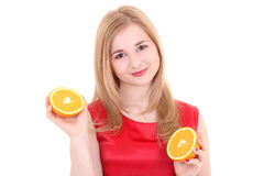 Attractive girl with orange over white Royalty Free Stock Photo