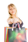 Attractive girl with packages Stock Photo