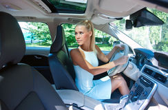 Attractive girl parking her car Royalty Free Stock Photography