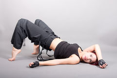 Attractive girl performing exercises. Portrait of attractive girl performing exercises stock photos