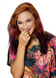 Attractive girl with piercing making expression Stock Photo
