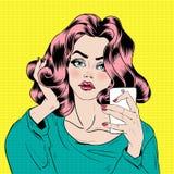 Attractive Girl in Pop Art Style is Doing Selfie Stock Images