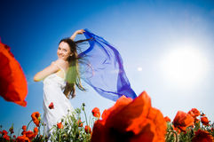 Attractive girl in the poppy field Royalty Free Stock Photography