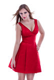 Attractive girl posing in red dress Stock Photos