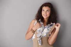 Attractive girl posing smiling Royalty Free Stock Photos