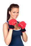 Attractive Girl Practicing Boxing Stock Photography