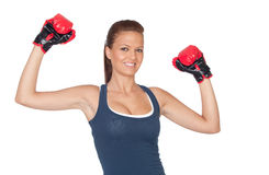 Attractive girl practicing boxing Royalty Free Stock Images