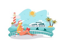 Attractive girl reading book on deck of yacht. Summer vacation at sea. Vector illustration Stock Photo