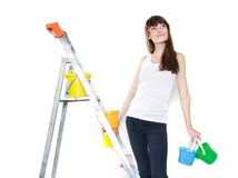 Attractive girl ready for renovation Stock Photography