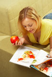 The attractive Girl & red apple Royalty Free Stock Photos