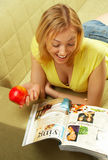 The attractive Girl & red apple Stock Images