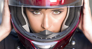 Attractive Girl Red Full Face Helmet Motorcycle Stock Photos