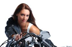 Attractive girl riding a bike Royalty Free Stock Photo