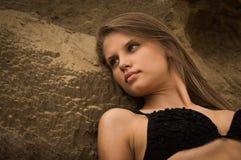 Attractive girl on a sandy beach Stock Photo