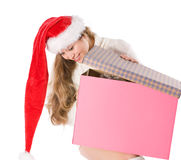 Attractive girl in Santa  hat with fancy box Stock Image