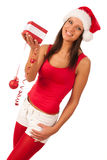 Attractive Girl in Santa Hat isolated Royalty Free Stock Images