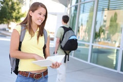 Attractive Girl at School Library Royalty Free Stock Image
