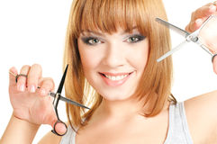 Attractive girl with scissors Royalty Free Stock Photo