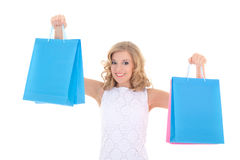 Attractive girl with shopping bags isolated Royalty Free Stock Photos