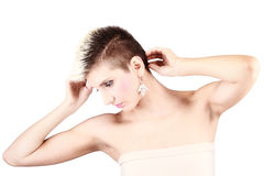 Attractive girl with short hair Royalty Free Stock Images