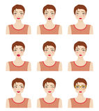 Attractive girl showing different facial expressions Royalty Free Stock Images