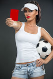 Attractive girl showing  red card Stock Photo