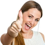 Attractive girl showing thumbs up. Stock Photography