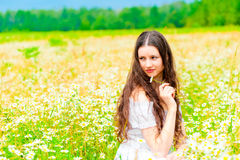 Attractive girl sitting in a field of daisies and looking away Royalty Free Stock Photos