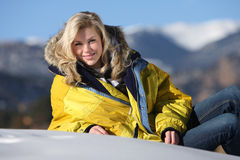Attractive Girl at Ski Resort Stock Photography