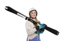 Attractive girl skier on white background. Stock Photos