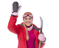 Attractive girl skier on white background. Royalty Free Stock Photography