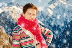 Attractive girl in snowy winter Alps Royalty Free Stock Photo