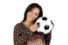 Attractive girl with a soccer ball Stock Image
