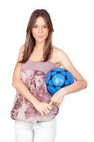 Attractive girl with soccer ball Royalty Free Stock Images