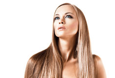 Attractive girl with straight blond hair Royalty Free Stock Photo