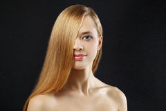 Attractive girl with straight hair Royalty Free Stock Image