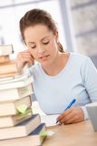 Attractive girl studying at home for exam Royalty Free Stock Image