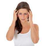 Attractive girl suffers from headache Stock Photo