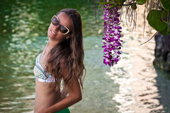 Attractive girl at summer day in Hawaii Royalty Free Stock Images