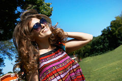 Attractive girl in sunglasses Royalty Free Stock Photography