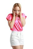 Attractive girl surprised Royalty Free Stock Photos
