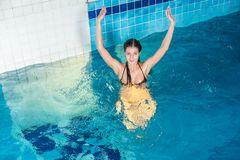Attractive girl in swimming pool Stock Photography
