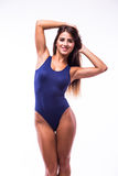 Attractive girl in swimsuit. Isolated on white Stock Images