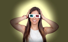 Attractive girl with three-dimensional glasses Royalty Free Stock Images