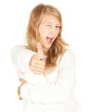Attractive girl thumb up Royalty Free Stock Images