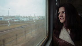 Attractive girl on the train stock footage