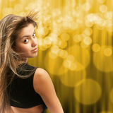 Attractive girl turning her head stock photo