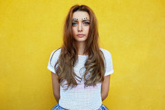 Attractive girl in an unusual skirt Royalty Free Stock Photography